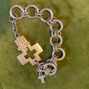 J A Klein silver cross bracelet